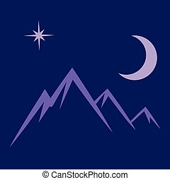 moon star mountains symbol vector