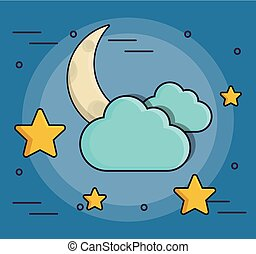 moon stars and clouds icon