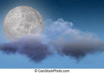 Moon and Cloud Scene - Night Sky