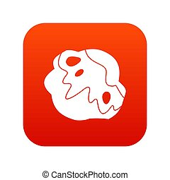 Moon stone icon digital red for any design isolated on white...