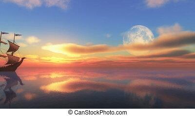moon sunset ship