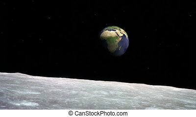 Moon surface and the Earth - View of the Earth from surface...