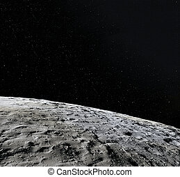 Moon surface. Realistic 3d render of moon and space. Space and planet. Satellite. Nebula. Elements of this image furnished by NASA.