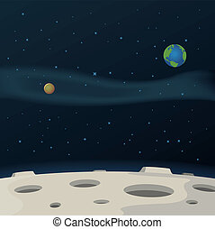Moon Surface - Illustration of a cartoon moon surface with...