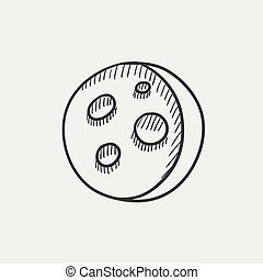 Moon surface with cheese holes sketch icon.