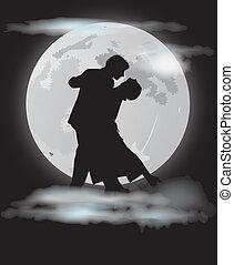 moon tango - romantic couple dancing tango