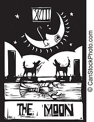 Moon Tarot - Woodcut style Tarot card for the moon