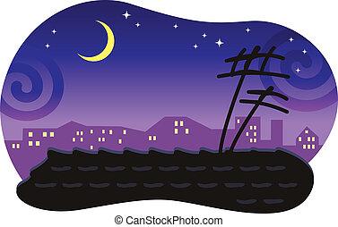 moon., telhado, stylized, ladrilhado, noturna, cityscape
