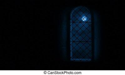 Moon Through Tall Castle Window - Full moon seen through...