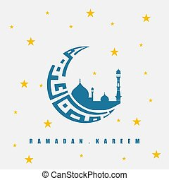 Moon Typography for Ramadan Kareem with mosque silhouette design