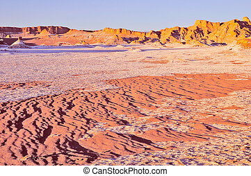 Moon valley in Atacama desert at sunset time,