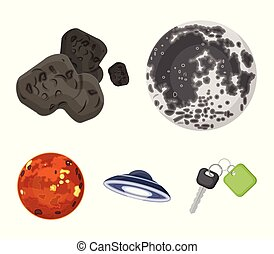 Moon, Venus of the planet of the solar system. Nil, a meteorite. Planets set collection icons in cartoon style vector symbol stock illustration web.