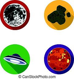 Moon, Venus of the planet of the solar system. Nil, a meteorite. Planets set collection icons in flat style vector symbol stock illustration web.