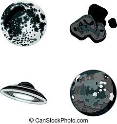 Moon, Venus of the planet of the solar system. Nil, a meteorite. Planets set collection icons in monochrome style vector symbol stock illustration web.