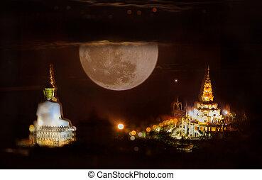 Moon. white buddha status in night scene.