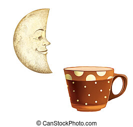 Moon with a smiling face, brown ceramic coffee cup with polka dots.