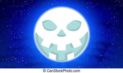 moon with halloween face and bats - Moon with halloween face...