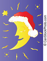 Moon with Santa Claus Hat.