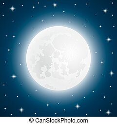 Moon with shining stars, vector