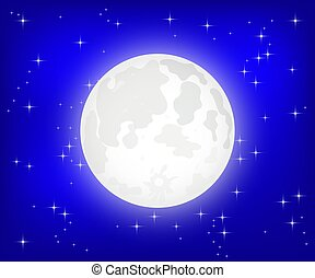 Moon with shining stars, vector
