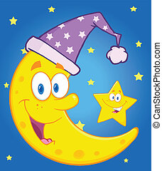 Moon With Sleeping Hat And Star