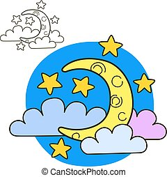 Moon with stars and clouds. Coloring book page