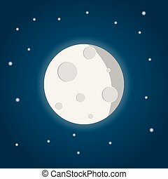 moon with stars on the night sky