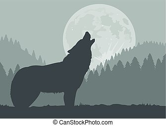 Silhouette of a wolf howling at the full moon.