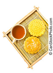 Mooncake and tea,food and drink for Chinese mid autumn festival.
