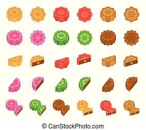 mooncake, geschmack, design, mittler, chinesisches , verschieden, wohnung, herbst, fest