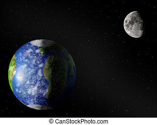 moonearth, tierra, y, luna
