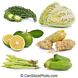 Moonflower, Bilimbi, sweet orange, waxy corn,  Cabbage, Bitter melon on white background