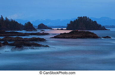 Moonglow - A long exposure of the Pacific west coast near...