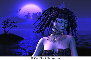 MoonGlow - A mysterious fantasy woman stands on a midnight...