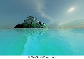 A castle overlooks crystal clear seas.