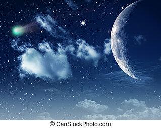 moonlight., abstract, natuurlijke , achtergronden, voor, jouw, ontwerp