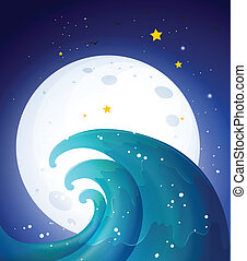 Moonlight and the waves - Illustration of the moonlight and ...