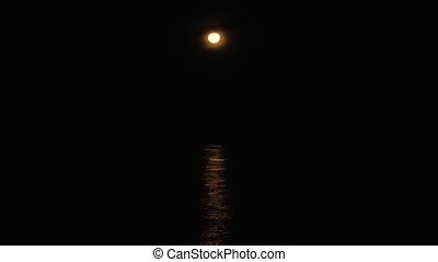 moonlight at sea - moonlight reflections on sea. Full moon...
