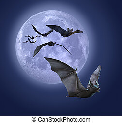 Moonlight Bats - Full moon with bats - 3d render with...