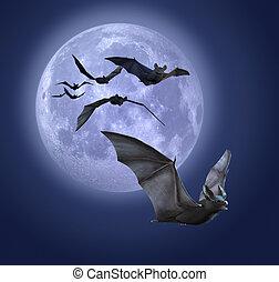 Moonlight Bats - Full moon with bats - 3d render with ...