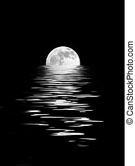 Abstract of a full moon on the Spring Equinox reflected over water and set against a black background.