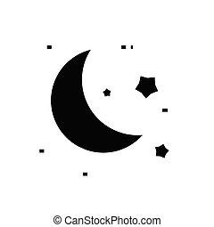 Moonlight black icon, concept illustration, vector flat symbol, glyph sign.