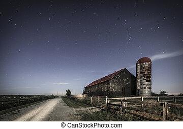 Moonlight farm - Scenic nighttime image of an old farm barn...