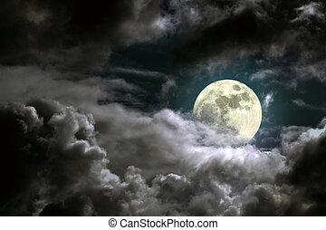 Moonlight - Illustration of an interesting full moon in a...