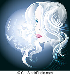 Moonlight - Illustration of young blond woman against full...