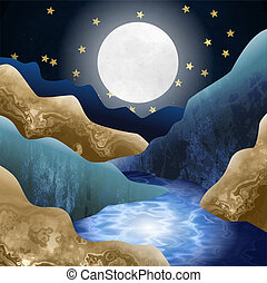 Moonlight Mountain Valley Stream