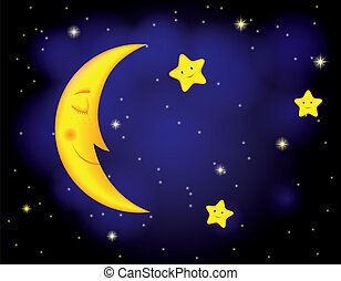 moonlight night - cartoon moonlit night with sleeping moon...