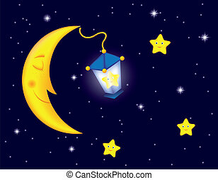 moonlight night - cartoon moonlit night with sleeping moon,...
