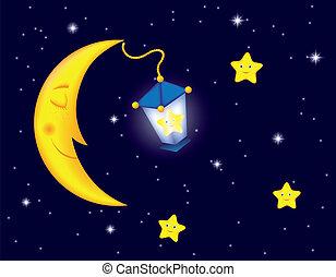 moonlight night - cartoon moonlit night with sleeping moon,...