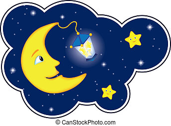 cloud frame as cartoon moonlit night with smiling moon and stars, stars into the lamp